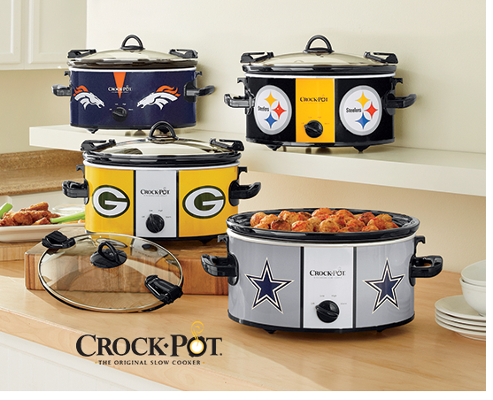 Four NFL 6-Qt. Cook 'N Carry Slow Cookers by Crock-Pot, including Packers,Cowboys, Steelers, and Broncos