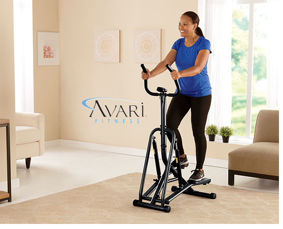 Woman in her living room, working out on Avari Tension StepperTension Stepper by Avari
