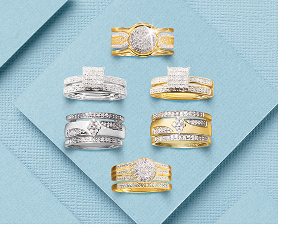 Six diamond bridal sets, with diamonds in various settings, gold and silver