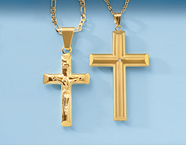 Two Gold Crucifix Pendants on gold chains