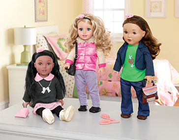 "Three 18"" Dolls, shown in a girl's bedroom: one Hispanic, one African-American and one Caucasian"