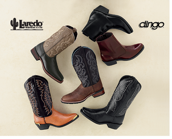 Variety of men's cowboy and ankle boots, brand names Laredo and dingo