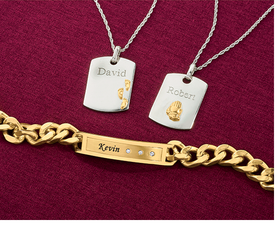 Inspirations/Name Two-Tone Pendant & Goldtone Name/Bar Bracelet with Cubic Zirconia Accents