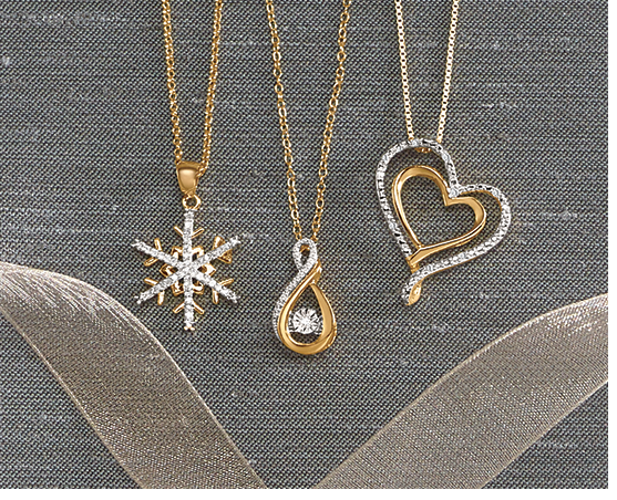 the Showflake Necklace, Heartbeat Infinity Necklace and Double Heart Pendant