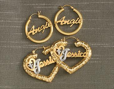 Name/Religious Heart Earrings