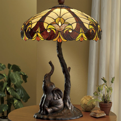 Stained  Glass Elephant Lamp - Shop Table Lamps