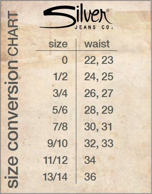 Shop Silver Jeans. Silver Jeans Size Chart. This Silver Jeans Size Chart can be used to help you determine your waist size in Silver Jeans. For example, if you typically wear a size 1 or 2 in junior's jeans, you should try the size 26 in Silver Jeans.