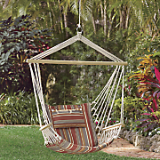 hanging chair with cabana striped pillow