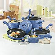 Paula Deen 15 piece Speckled Porcelain Cookware Set Pear and Blueberry