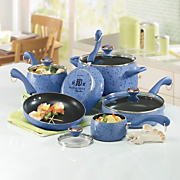 Paula Deen 15 piece Speckled Porcelain Cookware Set Pear and Blueberry