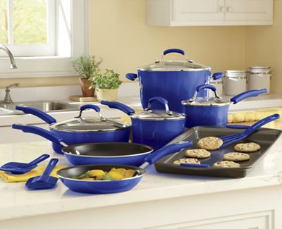 Rachael Ray 14-Piece Gradient Aluminum Cookware with Porcelain Enamel Exterior—Blue or Green