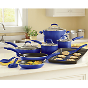 Rachael Ray 14 Piece Gradient Aluminum Cookware with Porcelain Enamel Exterior Blue or Green