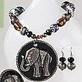 Elephant Bead Pendant & Earring Set