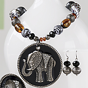elephant bead pendant earing set