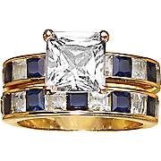 square round bridal set with sapphire accents