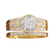 double circle diamond bridal set
