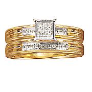 square diamond bridal set