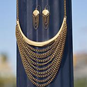bar multi strand long necklace earring set