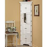 8 door white corner cabinet