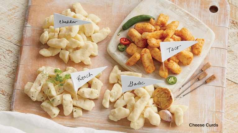 Cheddar, Taco, Ranch, and Garlic Flavored Cheese Curds - Shop Cheese Curds