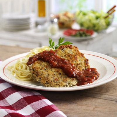 Breaded Veal Parmesan Cutlets with Tomato/Basil Sauce