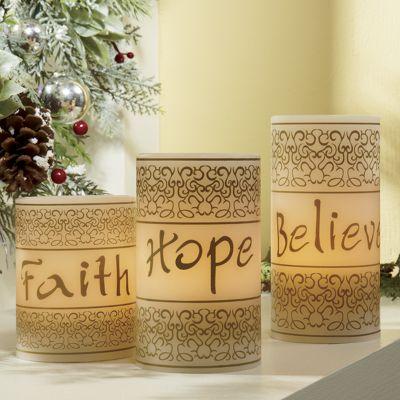 3-Piece Faith, Hope, Believe LED Candle Set