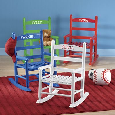 Personalized childs rocking chair from the swiss colony for Monogrammed kids chair