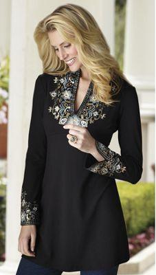 'Natasha' Floral Embellished Tunic