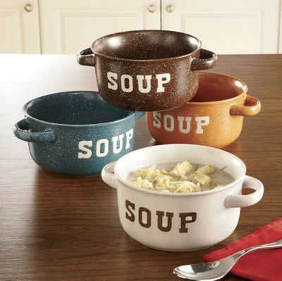 Set of 4 Stoneware Soup Bowls