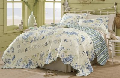 Blue Coral Oversized Reversible Cotton Quilt & Sham