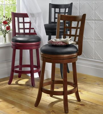Lattice-Back Swivel Stool