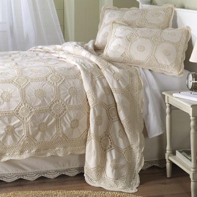 Crocheted Coverlet, Bedskirt and Sham