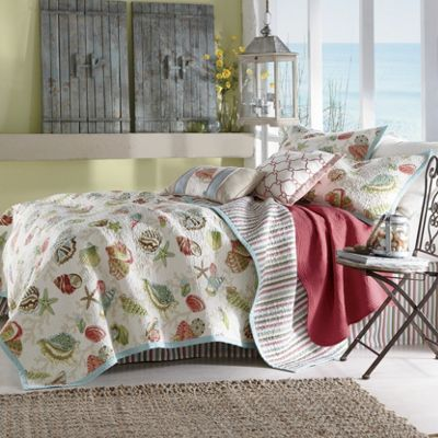 Painted Shells Oversized/Reversible Quilt, Sham and Pillows