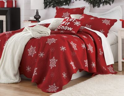 Snowflake Embroidered Cotton Quilt from Country Door : red snowflake quilt - Adamdwight.com