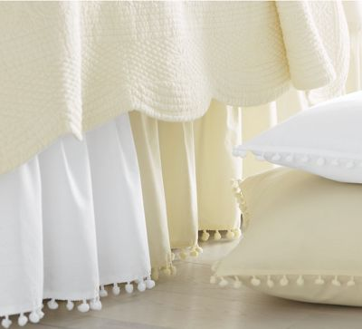 Ball-Fringe Bedskirt and Sham Pair