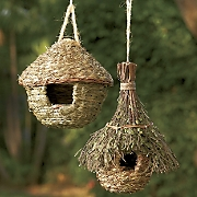 natural round hut and leafy chalet birdhouses