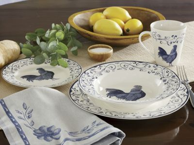 16-piece Rooster Toile Blue Dinnerware Set & 16-piece Rooster Toile Blue Dinnerware Set from Country Door