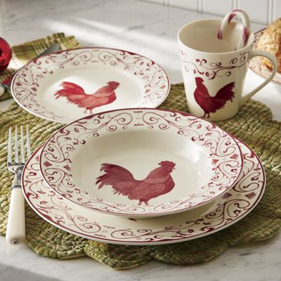 16-Piece Rooster Toile Dinnerware Set & 16-Piece Rooster Toile Dinnerware Set from Seventh Avenue | 43016