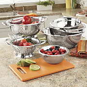 6 pc set stainless steel bowls colanders