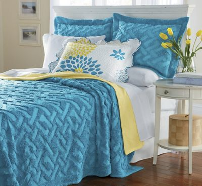 Geometric Solid Chenille Bedding and Sham