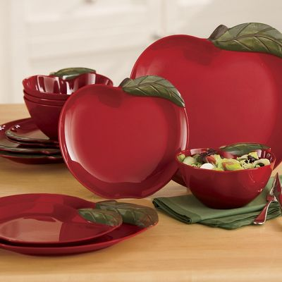 12-Piece Apple Melamine Dinnerware Set & 12-Piece Apple Melamine Dinnerware Set from Ginny\u0027s | JJ61879