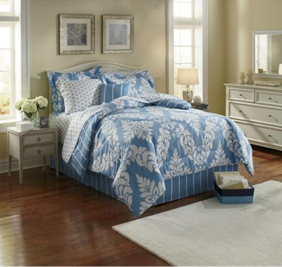 Rene Blue Complete Bedding, Pillow, Shams and Window Treatments