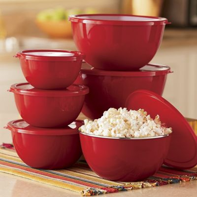 Set of 6 Steel Bowls with Plastic Lids
