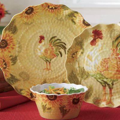 12 piece rooster melamine dinnerware set from country door for Country living customer service number