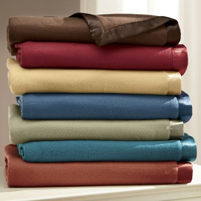 Satin-Trimmed Fleece Blanket