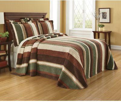 Ginny's Chenille Uptown Hunter Stripe Bedspread