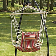 Hanging Chair with Cabana-Striped Pillow