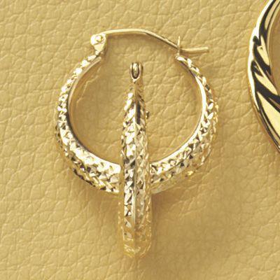 Round Diamond-Cut Hoop Earrings