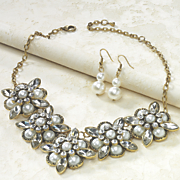 Faux Pearl Necklace/Earring Set