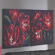 Set of 2 Red Flower Prints